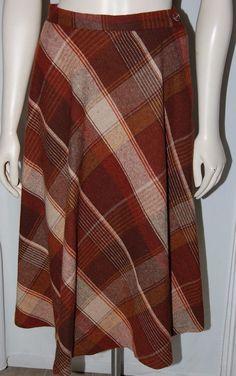 Vintage Brown Tan Orange Scottish Tartan Plaid 100% Wool Knee Skirt M 1950's…