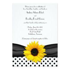 Sunflower Black White Polka Dot Ribbon Wedding Card