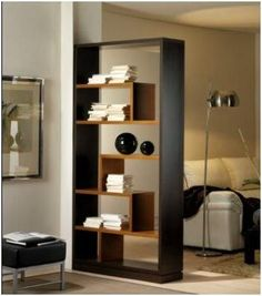 Bookshelves Decorating Ideas for Living Room Book Shelf Decorating Idea & Tip Bookshelves Decorating Ideas for Living Room. If you have bookshelves in your home, and lots of books, you've… Living Room Partition Design, Room Partition Designs, Living Room Divider, Partition Walls, Home Decor Furniture, Furniture Design, Modern Room, Home And Living, Bookshelves