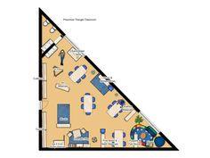 Triangle Shaped Classroom, Preschool Environment Design Idea Physical Environment, Environment Design, Triangle Shape, Physics, Preschool, Classroom, Class Room, Kid Garden, Triangles