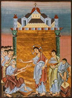 Jesus Washes His Disciples' Feet, ca. 1000, Othon gospel, München Bayerische Staatsbibliothek.