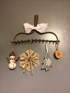 Old rake head & Christmas ornaments - Rustic Decor