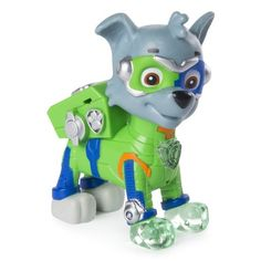 PAW Patrol Mighty Pups Rocky Figure with Light-up Badge and Paws, for Ages 3 and Up, Walmart Exclusive, Multicolor Paw Patrol Gifts, Paw Patrol Toys, Nick Jr, Diy Toys For 1 Year Old, Nerf Toys, Nickelodeon, Toys R Us, Age 3, Just Dance