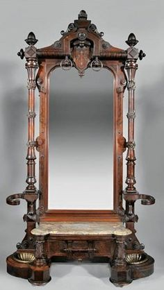images Renaissance Revival mirrors   century walnut Renaissance Revival hall stand with full-length mirror ...
