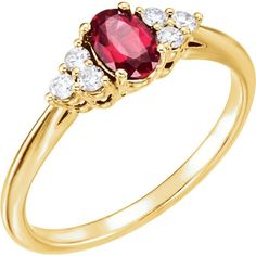 Chatham® Ruby & 1/6 CTW Diamond Ring - 14k Gold or Sterling Silver