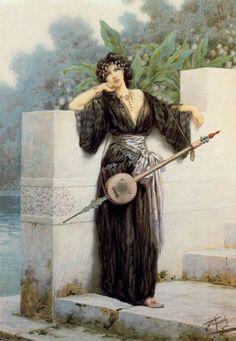 Giuseppe Aureli (1858-1929) - Orientalist woman with a stringed instrument standing near a garden wall