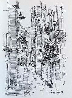 Barcelona streets. Ink sketch by Joaquim Francés