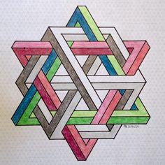 20151220 (regolo54) Tags: watercolor pattern handmade geometry aquarelle symmetry isometric impossible