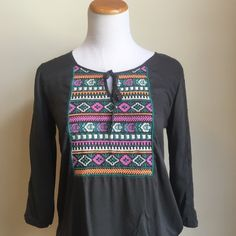 Target boho peasant top Cute boho type top with tie and amazing embroidery! It has lace down the sleeves, too. Target Tops Blouses
