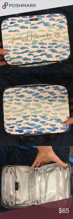 Kate spade make-up bag Plenty of fish in the sea! Super cute, has been sitting in my closet, needs to be loved! Essentially new condition kate spade Bags Cosmetic Bags & Cases