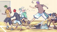 Tags: Running, Bicycle, Hug From Behind, Kuroko no Basket, Kise Ryouta, Midorima Shintarou