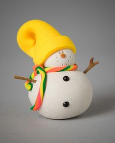 Polymer Clay Snowman for   Christmas Holiday_09