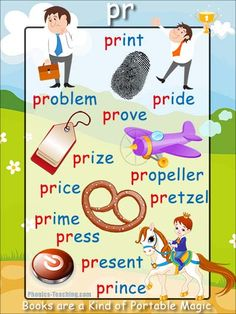 pr Phonics Poster - a FREE PRINTABLE poster for auditory discrimination, sound studies, vocabulary and classroom reference.