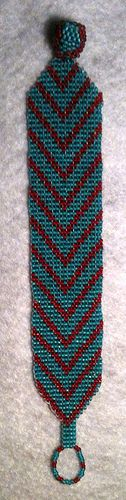 turquoise & red beaded bracelet  turquoise & red seed beads (size 11); square stitch (bracelet) & peyote stitch on a wooden bead (toggle)