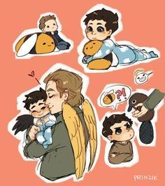 Castiel is a baby that has been left unwanted on a sidewalk. Dean Winchester doesnt have the heart to just leave him there. WARNING: some wincest in this not like smutty just like kissing and nicknames and cuddles and things. Supernatural Angels, Supernatural Drawings, Supernatural Pictures, Supernatural Fan Art, Castiel, Winchester Supernatural, Fanart, Film Serie, Superwholock