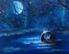 Blue Gravity  by Lorrie Bridges 16x20 Acrylic and Airbrush