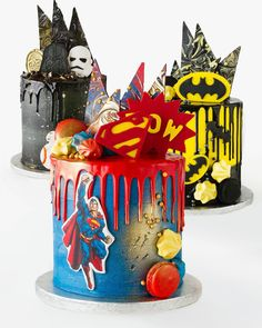 We can't wait to add to our amazing Celebration Cake Range, with some super themes coming your way. Watch this space! We can't wait to add to our amazing Celebration Cake Range, with some super themes coming your way. Watch this space! Bolo Nake Cake, Fancy Cakes, Cute Cakes, Superman Cakes, Marvel Cake, Superhero Cake, Cakes For Boys, Boy Cakes, Drip Cakes