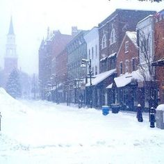 A snowy Winter view of the @ChurchStreet Marketplace in Burlington, Vermont #BTV