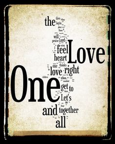 One Love Lyrics - Bob Marley - Word Art Print