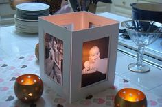 Pictures of grad at various ages printed on inkjet printer transparencies and lit from the inside with a battery-operated tea light or two. Grad Party Decorations, Graduation Party Centerpieces, Diy Centerpieces, Party Favors, Table Decorations, All Black Party, White Silver Wedding, Crafts With Pictures, Milestone Birthdays