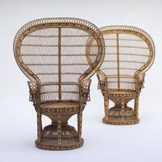 Rattan peacock chairs from the 1970s   Designer unknown. (hehe....drømte om en slik en - og fikk jo til slutt;-) )