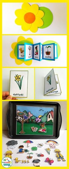 Spring Vocabulary Activities - Use this resource with your preschool, Kindergarten, or 1st grade classroom or home school students. It's great for your vocabulary or speech therapy lessons during the springtime months of March, April, and May. You get a craftivity, foldable, mini books, write the room, counting syllables, and an interactive vocabulary scene. {preK, K, first graders}