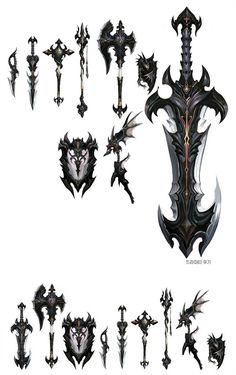 AION weapons www. Fantasy Sword, Fantasy Armor, Fantasy Weapons, Cosplay Weapons, Anime Weapons, Character Art, Character Design, Sword Design, Medieval Weapons