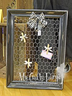 Picture Frame & chicken wire card holder