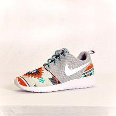 Nike Roshe Run Grey Aztec Custom Men  Womens by Dropkiks on Etsy