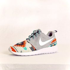 Nike Roshe Run Grey Aztec Custom Men & Womens by Dropkiks on Etsy