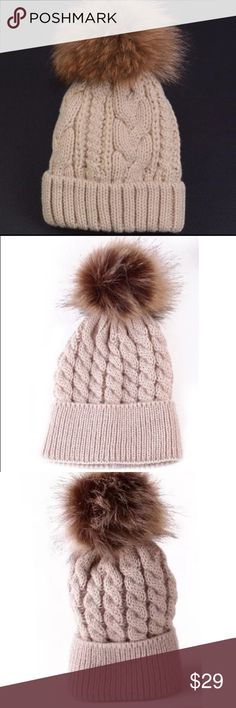 ✅ POM HAT Knitted Baby Fur Pom Hat Cable Knit in Khaki winter spring summer accessory Cute baby Accessories Hats