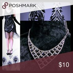 Art Deco Chic Rhinestone Bib Collar Beautiful quality costume jewelry necklace in lattice pattern with black stones in center. Boutique purchase from Vegas, maybe worn once.Tagged Icing for exposure.   Great Gatsby, glam, Lady Gaga. ICING Jewelry Necklaces
