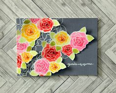 Watercolor Flowers on Grey. Card by Clare.
