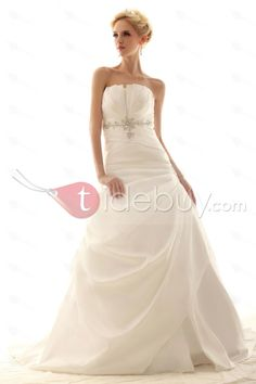 Gorgeous A-line Strapless Floor-Length Chapel Pick-up Nastye's Wedding Dress