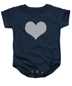 Navy White And Grey Stripes Baby Onesie featuring the digital art Navy White And Grey Vertical Stripes by Leah McPhail