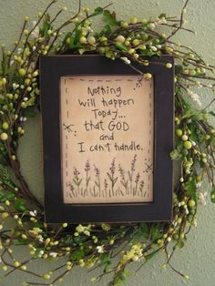 Primitive Stitchery Nothing God Can't Handle by TheBlueGooseShop