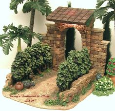 "Fontanini Italy Wall w/Window Openings"" - Collection Nativity Village Accessory This is Fontanini's Early Corner Wall with 2 Arched Window Openings. Christmas Grotto Ideas, Christmas Crib Ideas, Christmas Decorations, Pottery Houses, Ceramic Houses, Clay Fairy House, Fairy Houses, Christmas Nativity Scene, Christmas Villages"
