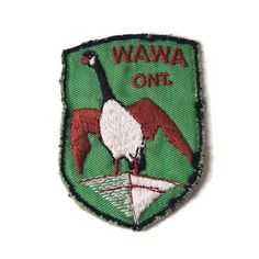 Wawa Ontario Souvenir Badge Vintage Embroidered Patch Canada Goose by ThriftyTheresa