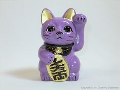 Maneki-Neko porcelain (5 -1/3 in. high) - Purple | Japanese Handmade Crafts Shop - nipponcraft