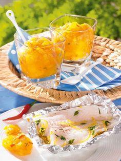 Gelbes Tomaten-Pfirsich-Chutney Rezept: Leckeres Chutney aus Pfirsichen, Cocktailtomaten und Chilischote - Eins von 7.000 leckeren, gelingsicheren Rezepten von Dr. Oetker! Chutneys, Chili, Grill Party, Kraut, Preserves, Grilling, Alcoholic Drinks, Bbq, Ethnic Recipes
