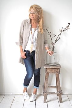 MIA Linen Shirt, NATURAL PINSTRIPE - BYPIAS Linen Tops - BYPIAS
