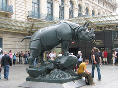 Bronze Rhino Statue: Musee d'orsay, France