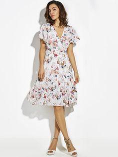V-Neck Flower Print Vacation Lace-Up Women s A-Line Dress Women s A 7d1dd37211a9