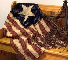 Primitive EPattern 33  American Flag Quilt by RagsNTags on Etsy, $6.50