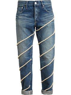 Tu Es Mon Tresor pearl embellished boyfriend jeans