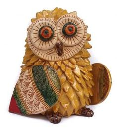 Little owl Honey (5in) of La Terra Incantata Little owl made entirely by hand, modeled, slipped, engraved and colored with enamels and varnishes with ceramic effect. Created according to the ancient techniques of Grottaglie ceramic tradition.