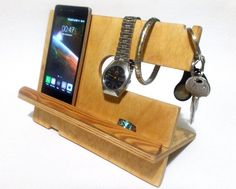 wood Charging station organizer wood Docking by WoodForGadgets