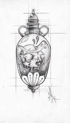 frasco veneno calavera envase poison pocion Tattoo Sketches, Tattoo Drawings, Drawing Sketches, Art Drawings, Sketch Ink, Weird Drawings, Kawaii Tattoo, Tatuajes Tattoos, Medical Anatomy
