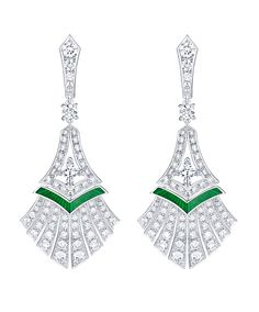 5a9bc1be78fd Louis Vuitton Acte V Escape Luxor earrings Diamond fronds fan out on these  Luxor earrings from the new Louis VUitton Acte V The Escape collection
