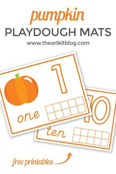 Pumpkin Playdough Mats for Number Practice {Free Printables!} If you're a regular here at The Art Kit, you know we are big fans of playdough! Between the lemon